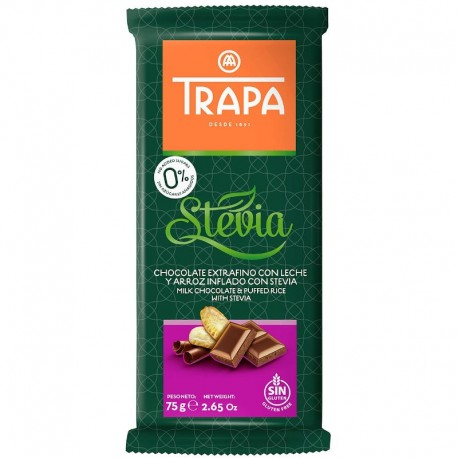 Ciocolata cu Lapte si Orez Expandat Stevia 75g Trapa