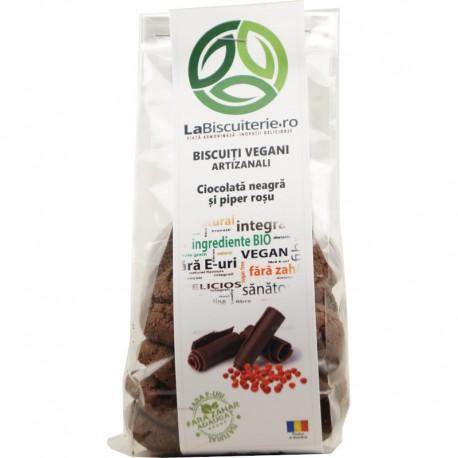 Biscuiti Vegani Artizanali Ciocolata Neagra Piper Rosu 140g LaBiscuiterie