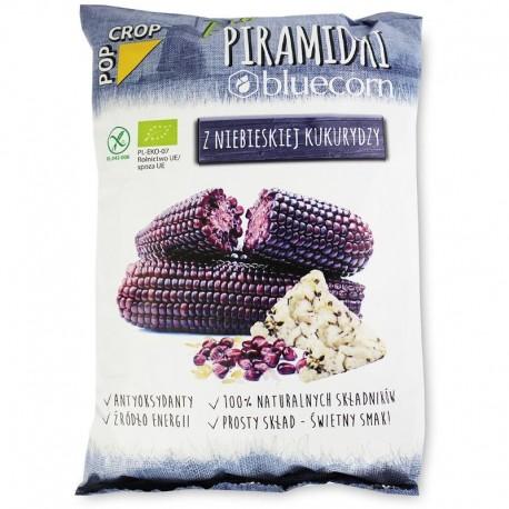Chips Piramidki - Porumb Albastru si Orez Brun fara Gluten Bio 80g Popcrop