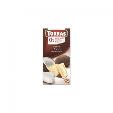 Ciocolata Alba cu cocos 75g Torras