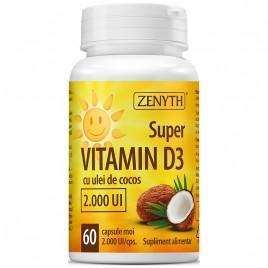Super Vitamin D3 cu Ulei de Cocos 2000UI 60cps Zenyth Pharmaceuticals