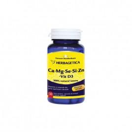 Capsule Herbagetica Complex Forte - Ca-Mg-Se-Si-Zn cu Vitamina D3 30cps