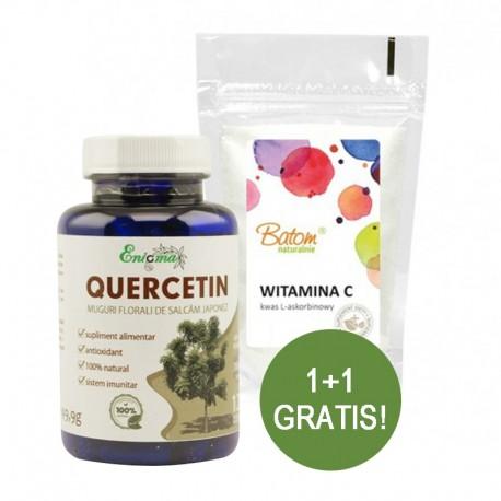 Quercitina 120 cps Enigma Plant + Vitamina C (Acid ascorbic) pulbere 250g Batom GRATIS