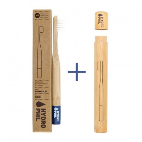 Pachet promo: Periuta de Dinti din Bambus Copii - Soft Albastru Inchis + Toc Periuta de Dinti din Bambus Hydrophil