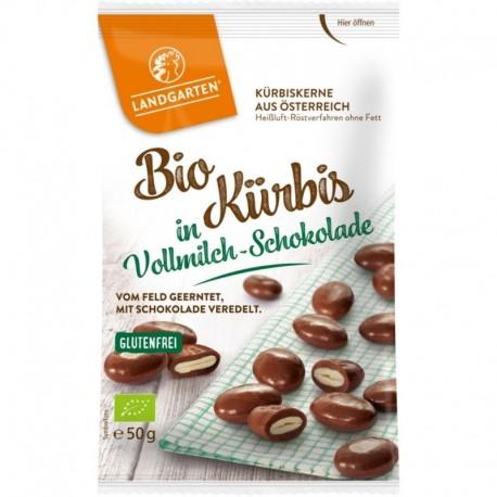 Seminte de Dovleac in Ciocolata cu Lapte Bio 50g Landgarten