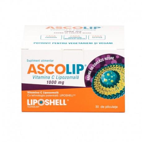 Vitamina C Lipozomala ASCOLIP 1000mg, cu aroma de coacaze, 30 plicuri LIPOSHELL