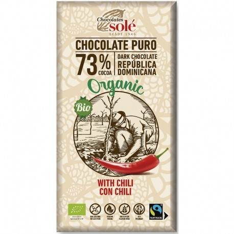 Ciocolata Neagra 73% Cacao cu Chili - Eco 100g Chocolates Sole