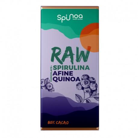 Ciocolata Raw cu Spirulina, Afine si Quinoa 35g Spinoa