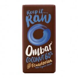 Ciocolata Raw cu Cocos, Probiotice 60% Cacao, Eco 35g Ombar