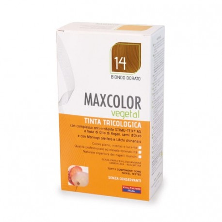 Vopsea de par vegetala blond auriu 14 140ml MaxColor Farmaderbe