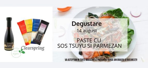 Degustare Paste Clearspring cu sos Tsuyu si parmezan