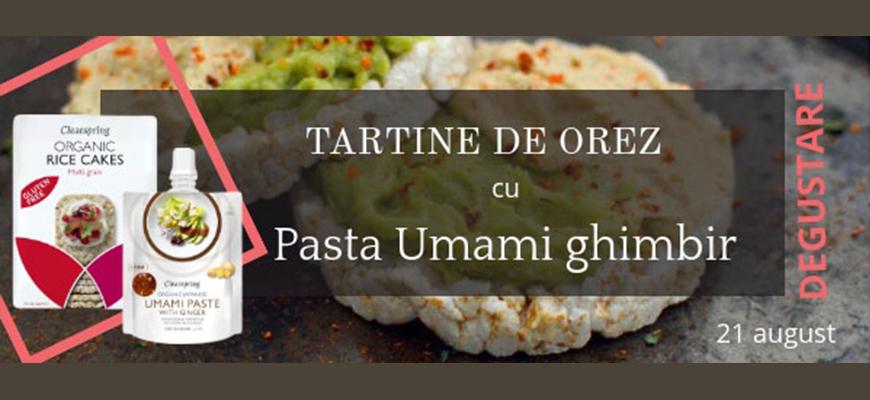 Degustare Tartine din orez cu pasta Umami