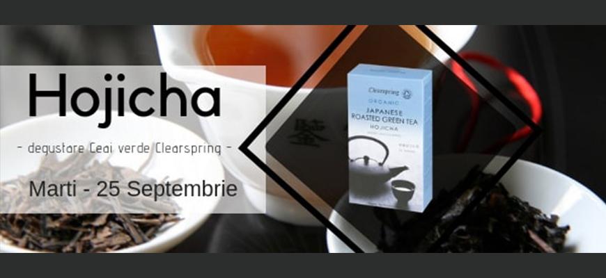 Degustare ceai verde Hojicha Clearspring