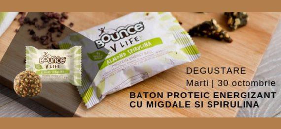 Degustare baton proteic energizant V Life cu Migdale si Spirulina