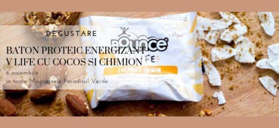 Degustare baton proteic energizant V Life cu Cocos si Chimion