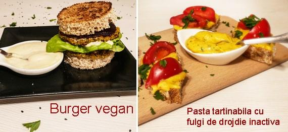 Burger vegan si pasta tartinabila cu fulgi de drojdie inactiva